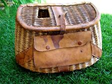 Vintage - Wicker & Leather - Fishing Creel - Front Pouch - Measurement Marks