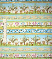 Woodland Cuties Fabric - Baby Animal Stripe Yellow Blue - Henry Glass YARD