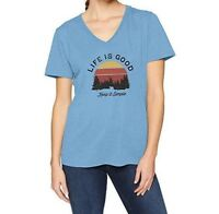 Life Is Good Womens XXL Blue Cool Tee Keep It Simple Tree Landscape T-Shirt