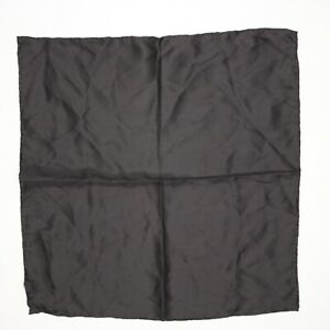 "Hand Rolled Silk Pocket Square 16"" Solid Black Formal Gents Hanky Satin Finish"