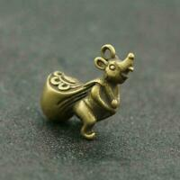 Chinese Brass Mouse Statue Rat Back Money Bag Pendant China Zodiac Pocket Gift