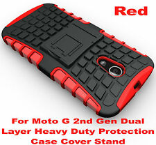 Red Heavy Duty Tradesman Strong Case Cover For Motorola Moto G 2nd Gen 2014