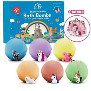 6 Bath Bombs Kit Set for Kids and Teens with UNICORN SURPRISES inside each bomb
