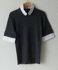 Damen-Pullover * STEFFEN SCHRAUT * grau m.weißen Extras * Wolle * Gr. 38 * NEU !