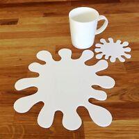 "Splash Shaped White Gloss Acrylic Placemats & Coasters Set 4/6/8 25cm 10"""