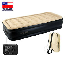 Inflatable Single High Raised Air Bed Mattress Airbed With Builtin Electric Pump