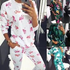 UK Womens Tropic pyjamas Set Ladies Trousers Loungewear Sport Tops Pants Suit