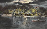Peoria Illinois c1910 Postcard Moonlight Scene in Glen Oak Park