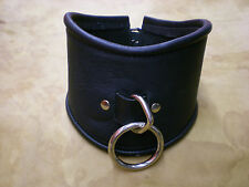 Hand crafted Genuine Leather Posture Collar Black Locking, Lined, Gothic, Unisex