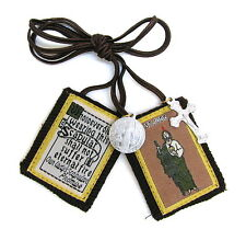 Scapular St Jude Our Lady Mt Carmel Brown Scapular 100% Wool & Medals Catholic