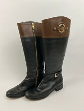 Michael Kors Two Tone Brown Black Leather Riding Boots Size 8M EU 38.5 UK 5.5