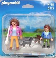 Playmobil Blister 5513 Duo Pack Mama Welpe mit Schulkind Schultasche Duopack NEU