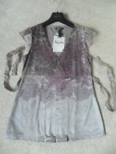 EX M&S PER UNA SPEZIALE MINK FLORAL SPARKLE BELTED STRETCH V-NECK TOP size 14 BN