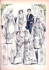 6 Victorian Edwardian Wedding Dress Design Reproduction  Bride Fashion Prints