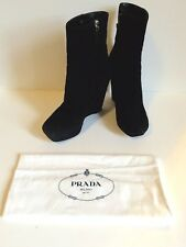 Prada Women's Boots Wedge Platform heels High Suede Black Authentic IT 39 US 9