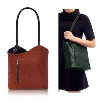 Handbag Ladies Leather Chocolate / Dark Chocolate Ostrich Effect Shoulder Bag