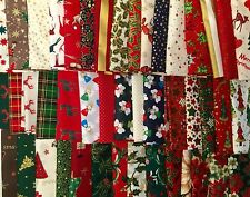 "CHRISTMAS 100% COTTON FABRIC 60 5"" PATCHWORK CHARM PACK SQUARE CRAFT REMNANTS"