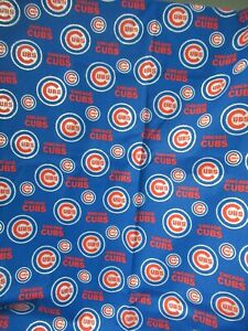 "Chicago Cubs MLB Silver Glitter Logo Cotton Fabric BLUE/RED  SBTHY X 58"" W  RARE"
