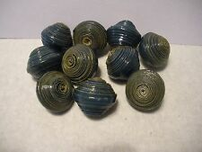 "African Paper Beads 10 Round Blue 3/4"" by 7/8"" Kenya New"