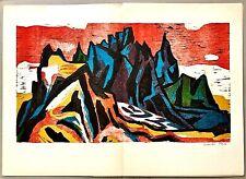 Original Signed CHARLES TRUB Color Wood Engraving Swiss Artist 1962 SPEKTRUM 15