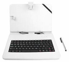 QWERTY White Faux Leather Case With Keyboard For Samsung ATIV Tab 3 Tablet