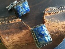 Vintage JACOB M OLDAK Sterling Silver Cufflinks Carved Blue Agate Spartan Roman