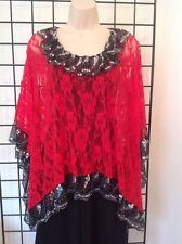 Designer Lace Poncho NWT $149, Rectangular, Red One Size Sequin, Kerry Damiano