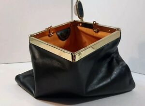 Vintage Etra Genuine Leather Black Evening Bag Gold Tone Chain Square Closure