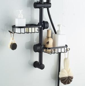 Shower Pole Caddy Bathroom Kitchen Wall Shelf Storage Rack Holder Hook Aluminium