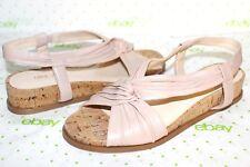 ✿NINE WEST Manwella Nude Pink Leather Cork Low-Wedge Slingbacks 7 M NEW! L@@K
