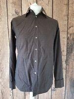 Mens Ted Baker Long Sleeve Shirt Brown Xo Design Size 3 42 Chest With Links