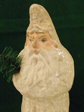"""☆ Antique 11"""" WHITE Robe Santa / Belsnickle German Candy Container w/SNOW #7 ☆"""