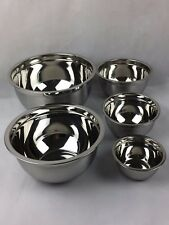 Set of 5 Stainless Steel Deep Mixing Bowl, Including 0.7L 1.4L 2.7L 4.7L & 7.5L
