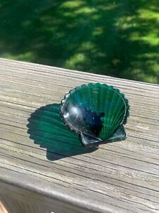 Vintage Turquoise Blue Glass Shell Jewelry Dish