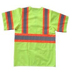 150 Yellow Polyester Fabric Safety Vest 2XL Class III Silver Tape w Orange Trim