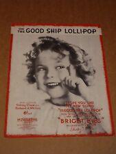 "Shirley Temple ""On The Good Ship Lollipop"" 1934 film sheet music (1)"