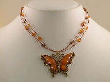 Topaz Color Butterfly Crystal Wire Necklace Set s0525