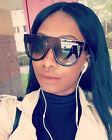 Oversized Designer Flat Top Tear Drop Brown Blue Shadow Women Sunglasses
