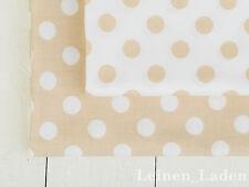 0,5 m Baumwolle Stoff Gepunktet Natur beige Farbe