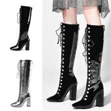 Gladiator Women Punk Lace Ups Back Zipper Patent Leather British Knee High Boots