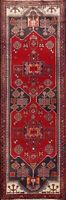 Vintage Tribal Geometric Hamedan Hand-knotted Runner Rug Oriental Carpet 4x10 ft