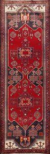 Vintage Tribal Geometric Hamedan Hand-knotted Runner Rug Oriental Carpet 4x10 ft