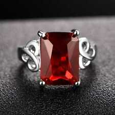 QCNL167 Handmade 7.50CT Natural Ruby 14K White Gold Ring Size US 7