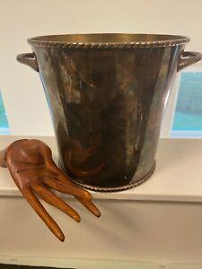 Pottery Barn Silver Champagne Wine Ice Bucket Rope Design L@@K