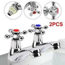 2X Taps Twin Hot and Cold Pair Tap Traditional Bath Bathroom Basin Sink Chrome