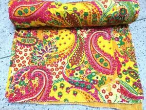 Twin Paisley Print Kantha Quilt Handmade Vintage Kantha Blanket Bedspread Throw