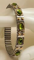 Silver Peridot Gemstone Bracelet Adjustable Bangle Gold 24k Hnmde Jewelry 2.5ct