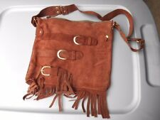 8eb9ebc2d2c1 NOS Vintage Biker Style Leather Brown Handmade Purse Satchel Bag with  Tassels  4