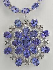 72.64 Carat Natural Tanzanite 14K White Gold Diamond Medallion Necklace