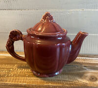 Vintage Shawnee Pottery Maroon Teapot with Lid Flower Handle USA